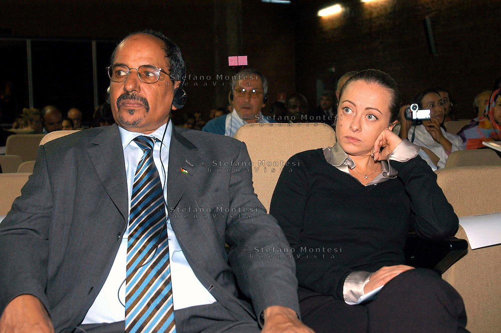 Rome 19 Octobre 2007.Mohamed Abdelaziz  President of the Saharawi Arab Democratic Republic (SADR) with minister Giorgia Meloni (Youth Policies).33° EUCOCO