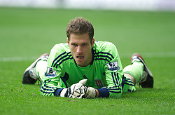 SWANSEA, WALES - Sunday, October 2, 2011: Stoke City's goalkeeper Asmir Begovic looks dejected after  the opening goal from the penalty spot against Swansea City during the Premiership match at the Liberty Stadium. (Pic by David Rawcliffe/Propaganda)