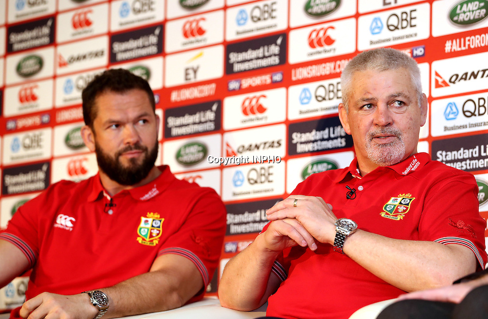 British &amp; Irish Lions Coaching Team Announcement for 2017 Tour to New Zealand, Carton House, Co. Kildare 6/12/2016<br /> WARREN GATLAND today announced the coaching team for the British &amp; Irish Lions 2017 Tour to New Zealand.<br /> Steve Borthwick (England), Andy Farrell (Ireland) and Rob Howley (Wales) will assist Gatland for the 10-game Tour next June and July.<br /> The trio will work with their respective countries for the RBS 6 Nations before joining the Lions ahead of the Squad Announcement on April 19, 2017. The Lions Management Team will be announced in early January.<br /> Pictured (L-R) Coach Andy Farrell and Head Coach Warren Gatland <br /> Mandatory Credit &copy;INPHO/Dan Sheridan