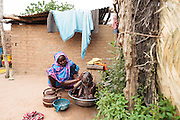 Habsita Moussa, 30, bathes her son Moustapha, 3, at home in Mongo, Guera province, Chad on Wednesday October 17, 2012.