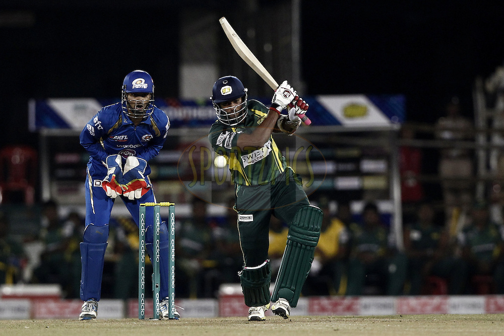 Yasoda Lanka of the SOUTHERN EXPRESS beat during the qualifier 4 match of the Oppo Champions League Twenty20 between the Mumbai Indians and the Southern Express held at the Chhattisgarh International Cricket Stadium, Raipur, India on the 14th September 2014<br /> <br /> Photo by:  Deepak Malik / Sportzpics/ CLT20<br /> <br /> <br /> Image use is subject to the terms and conditions as laid out by the BCCI/ CLT20.  The terms and conditions can be downloaded here:<br /> <br /> http://sportzpics.photoshelter.com/gallery/CLT20-Image-Terms-and-Conditions-2014/G0000IfNJn535VPU/C0000QhhKadWcjYs