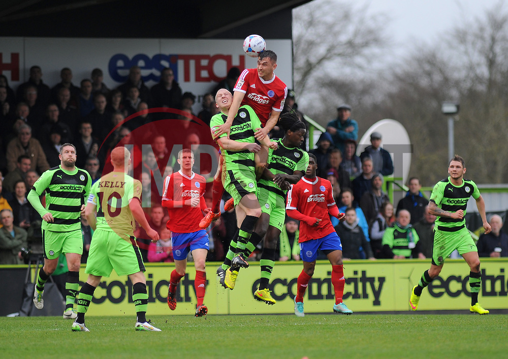 Aldershot Town's Brett Williams battles for the high ball against Forest Green Rovers's Charlie Clough - Photo mandatory by-line: Nizaam Jones - Mobile: 07966 386802 - 03/04/2015 - SPORT - Football - Nailsworth - The New Lawn - Forest Green Rovers v Aldershot Town - Vanarama Football Conference