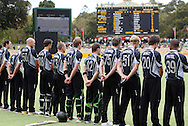 NZ Black Caps line up for a minutes silence for the victims of the Victoria Bush Fires prior to the start of the 4th one day international cricket match, New Zealand Black Caps v Australia, Chappell Hadlee Series at the Adelaide Oval, Australia, 10 February 2009..Photo: Andrew Cornaga/PHOTOSPORT