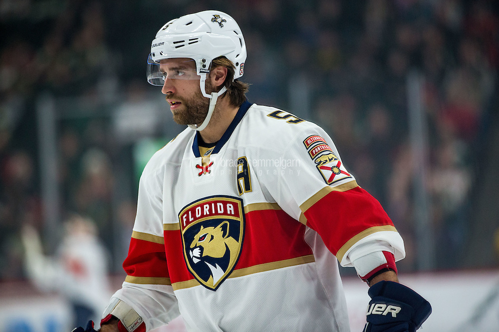 Dec 13, 2016; Saint Paul, MN, USA; Florida Panthers defenseman Aaron Ekblad (5) against the Minnesota Wild at Xcel Energy Center. The Wild defeated the Panthers 5-1. Mandatory Credit: Brace Hemmelgarn-USA TODAY Sports