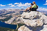 Climbers on the summit of Tenaya Peak, Tuolumne Meadows, Yosemite National Park, California