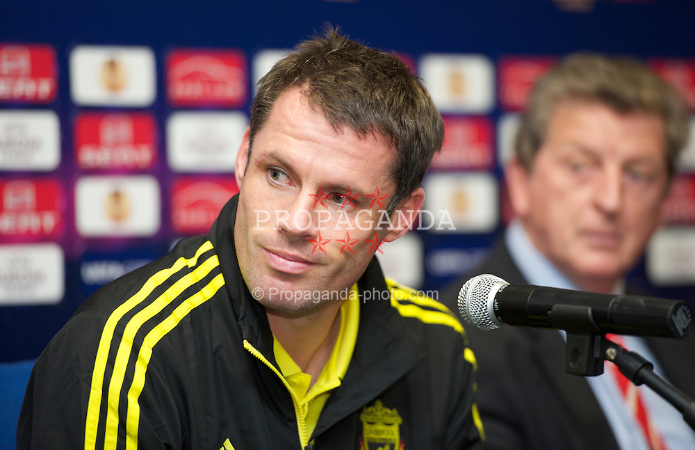 NAPELS, ITALY - Wednesday, October 20, 2010: Liverpool's Jamie Carragher during a press conference ahead of the UEFA Europa League Group K match against SSC Napoli at the Stadio San Paolo. (Pic by: David Rawcliffe/Propaganda)