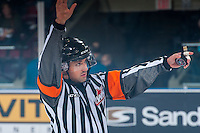 KELOWNA, CANADA - NOVEMBER 26: Referee Kevin Webinger calls for the puck drop at the Kelowna Rockets against the Regina Pats on November 26, 2016 at Prospera Place in Kelowna, British Columbia, Canada.  (Photo by Marissa Baecker/Shoot the Breeze)  *** Local Caption ***