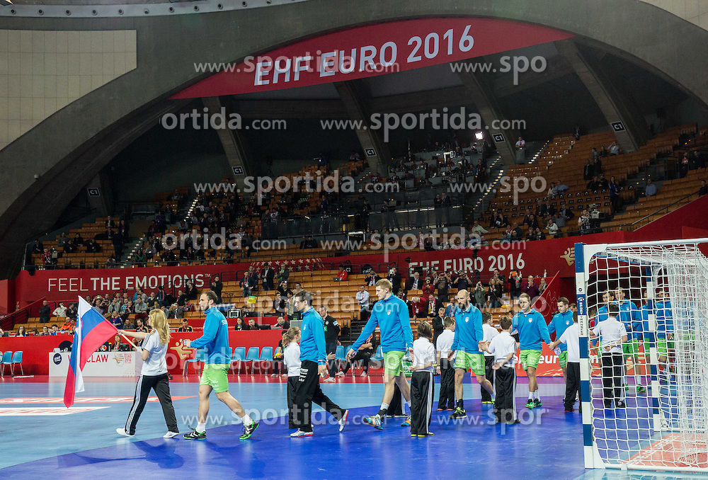 Team Slovenia coming to court during handball match between National teams of Germany and Slovenia on Day 6 in Preliminary Round of Men's EHF EURO 2016, on January 20, 2016 in Centennial Hall, Wroclaw, Poland. Photo by Vid Ponikvar / Sportida