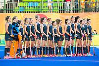 IO DE JANEIRO -  line up voor  de finale tussen de dames van Nederland en  Groot-Brittannie in het Olympic Hockey Center tijdens de Olympische Spelen in Rio. COPYRIGHT KOEN SUYK