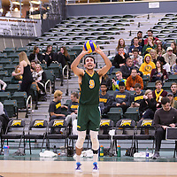 3rd year outside hitter Dalton Wolfe (9) of the Regina Cougars in action during Men's Volleyball home game on November 18 at Centre for Kinesiology, Health and Sport. Credit: /Arthur Images