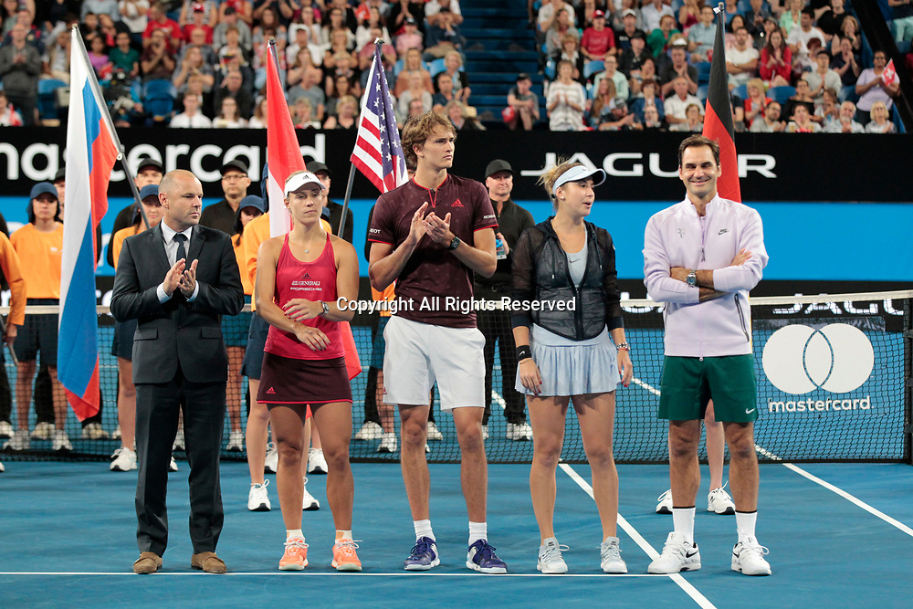 6th January 2018, Perth Arena, Perth, Australia; MasterCard Hopman Cup Tennis Final; Paul Kiderry Tournament Director Alexander Zverev and Angelique Kerber of Team Germany and Roger Federer and Belinda Bencic of Team Switzerland line up for the presentations of the winners