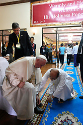 Pope Francis before a meeting with Bhaddanta Kumarabhivasma, chairman of the supreme council of Buddhist monks at the Kaba Aye Pagoda in Yangon, Myanmar on November 29, 2017. Pope Francis' visit in Myanmar and Bangladesh runs from 27 November to 02 December 2017. Photo by ABACAPRESS.COM