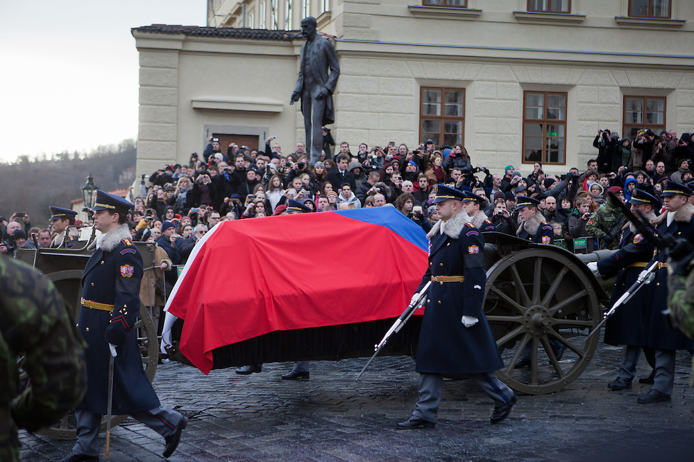 About 10000 Czech citizens accompanied the remains of Vaclav Havel from the Old Town part in Prague across Charles Bridge   up to Prague Castle, the seat of Czech presidents. Mourning procession with the coffin of former President Vaclav Havel at Prague Castle in front of the statue of the first president of Czechoslovakia Tomas Masaryk.