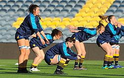 Worcester Valkyries players warm up prior to kick-off - Mandatory by-line: Nizaam Jones/JMP - 01/12/2018 - RUGBY - Sixways Stadium - Worcester, England - Worcester Valkyries v Saracen Women- Tyrrells Premier 15s