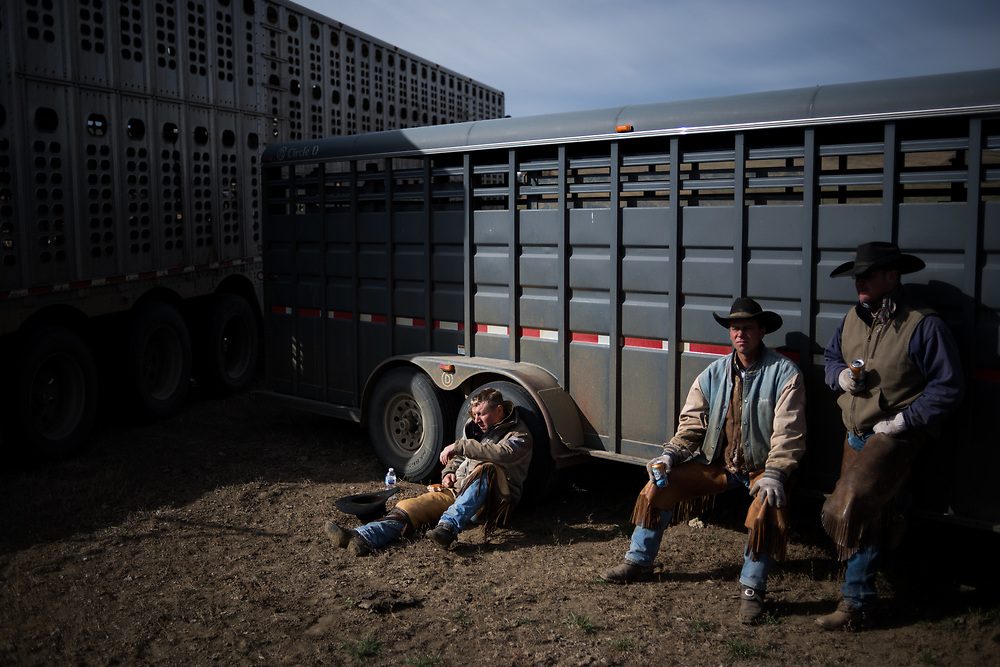 Cowboys take a break after a long morning sorting cows from calves on land owned by a grazing association west of Meadow, SD on October 8, 2017. Grazing associations provide a way for multiple ranchers to defray the costs of land owning and usage for grazing cattle and on occasion provide access to national grasslands and grazing areas.