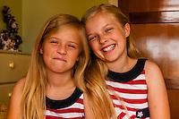 Preteen Mormon sisters wearing American flag dresses, Cedar City, Utah USA