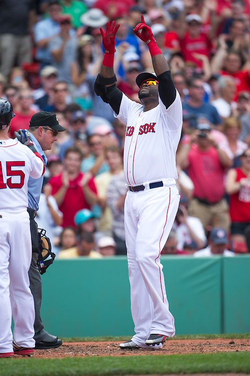 BOSTON, MA - JUNE 09: David Ortiz #34 of the Boston Red Sox gestures after scoring during the game against the Los Angeles Angels at Fenway Park in Boston, Massachusetts on June 9, 2013. (Photo by Rob Tringali) *** Local Caption *** David Ortiz