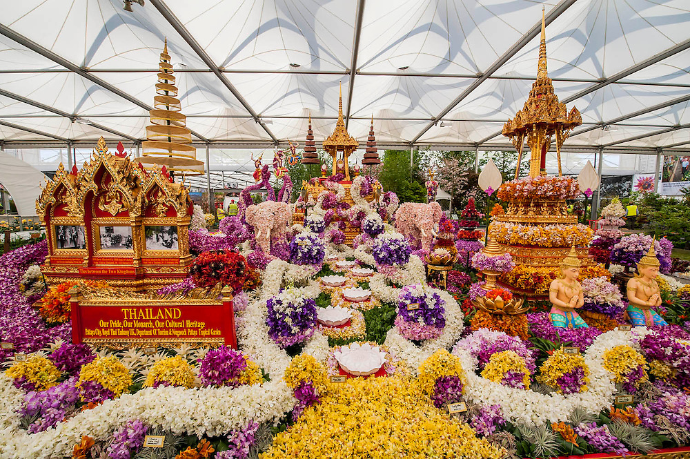The Thailand garden made up of over 100k flowers. The Chelsea Flower Show 2014. The Royal Hospital, Chelsea, London, UK