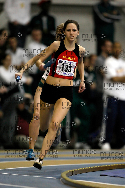 Windsor, Ontario ---14/03/09--- Valerie Hurdle of  the University of Calgary competes in the 4x400m relay at the CIS track and field championships in Windsor, Ontario, March 14, 2009..Claus Andersen Mundo Sport Images