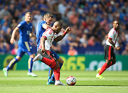 Jeremain Lens of Sunderland (R) and Andy King of Leicester City in action  - Mandatory byline: Jack Phillips/JMP - 07966386802 - 08/08/2015 - SPORT - FOOTBALL - Leicester - King Power Stadium - Leicester City v Sunderland - Barclays Premier League