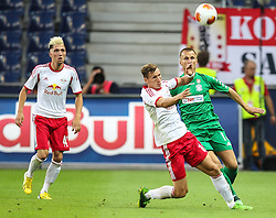 22.08.2013, Red Bull Arena, Salzburg, AUT, UEFA EL Play Off, FC Red Bull Salzburg vs VMFD Zalgiris, Hinspiel, im Bild Florian Klein, (FC Red Bull Salzburg, #8) und Paulius Janusauskas, (VMFD Zalgiris Vilnius, #16) // during UEFA Europa League Qualification 1st Leg Match between FC Red Bull Salzburg and VMFD Zalgiris at the Red Bull Arena, Salzburg, Austria on 2013/08/22. EXPA Pictures © 2013, PhotoCredit: EXPA/ Roland Hackl
