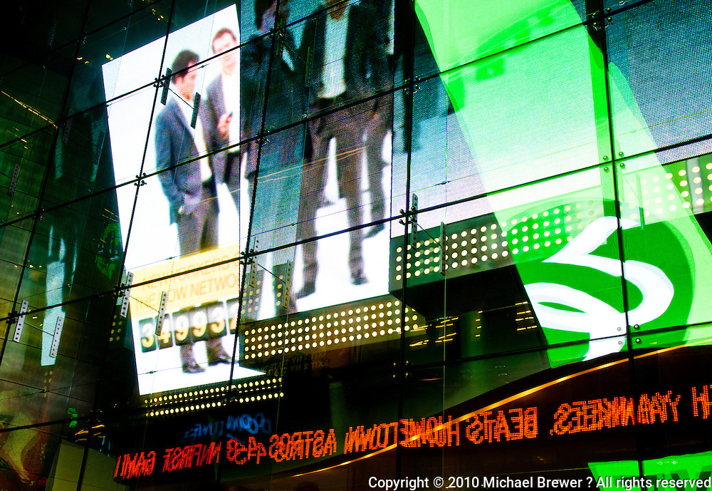 New York, New York City. Times Square art - neon advertisements.