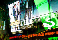 New York, New York City. Times Square art - neon advertisements.
