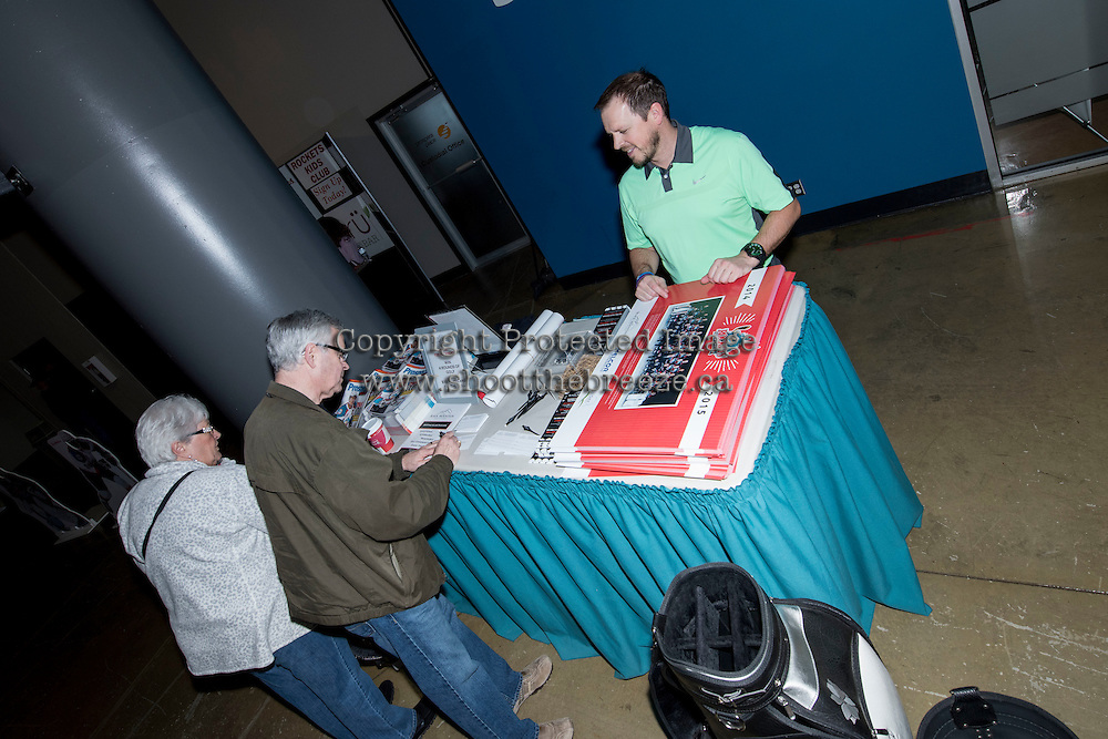 KELOWNA, CANADA - MARCH 18: The lobby was a busy place as the Kelowna Rockets hosted the Seattle Thunderbirds on March 18, 2015 at Prospera Place in Kelowna, British Columbia, Canada.  (Photo by Marissa Baecker/Shoot the Breeze)  *** Local Caption *** lobby