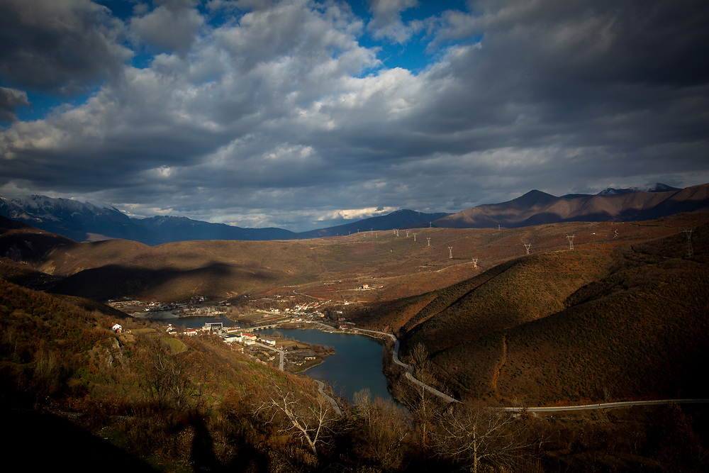 Winter sun shining over the mountain village of Dushaj in Northern Albania on the 12th of December 2018. The river Drin passes through the centre of the village which is used to power the Fierzë Hydroelectric Power Station. The power station dam has a total volume of 8 million cubic meters and has an annual average power output of 1,330GWh. (photo by Andrew Aitchison / In pictures via Getty Images)