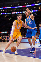 02 April 2013: Forward (16) Pau Gasol of the Los Angeles Lakers against the Dallas Mavericks during the XX half of the Lakers 101-81 victory over the Mavericks at the STAPLES Center in Los Angeles, CA.