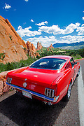 Cherry red 1966 Ford Mustang, Garden of the Gods, Colorado Springs, Colorado
