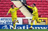 Photo: Alan Crowhurst.<br />Swindon Town v Bury FC. Coca Cola League 2. 25/11/2006. Bury's Paul Scott (R) celebrates his goal 0-1.