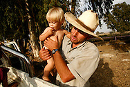 Binyamin Taljdard  33 enjoy the afternoon with his family next to Moshav Yehonatan in the Golan height Israel Monday October, 1, 2007....