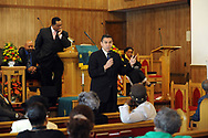 10/17/10 12:25:58 PM -- Darby, PA<br />  -- Democratic Congressional candidate Bryan Lentz speaks with the congregation of First Baptist Church October 17, 2010  in Darby, Pennsylvania. Bryan Lentz  faces Republican Pat Meehan  in the Nov. 2 general election.   --  Photo by William Thomas Cain/Cain Images