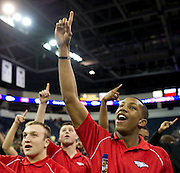 Tay Evans celebrates during Allen High School's football state championship community celebration at the Allen Event Center on Wednesday, January 30, 2013 in Allen, Texas. (Cooper Neill/The Dallas Morning News)