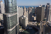 Wrigley Building and Tribune Tower looking toward the lakefront in Chicago, IL.