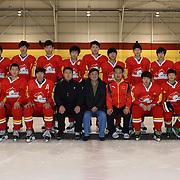 The Chinese U'20 Ice Hockey team at the 2012 IIHF Ice Hockey World Championships Division 3 held at Dunedin Ice Stadium. Dunedin, Otago, New Zealand. 17th January 2012. Photo Tim Clayton