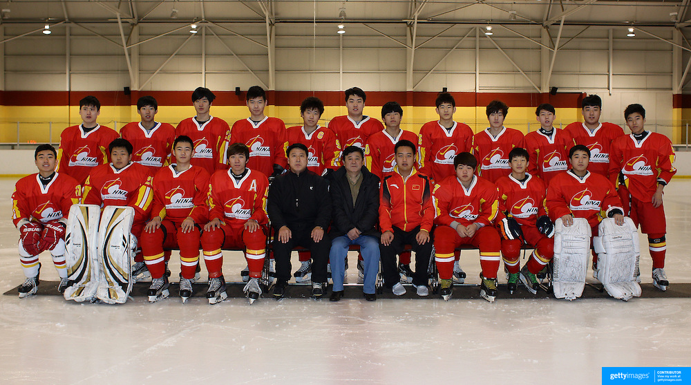 The Chinese U'20 Ice Hockey team at the 2012 IIHF Ice Hockey World Championships Division 3 held at Dunedin Ice Stadium. Dunedin, Otago, New Zealand. 17th January 2012. Photo Tim Clayton