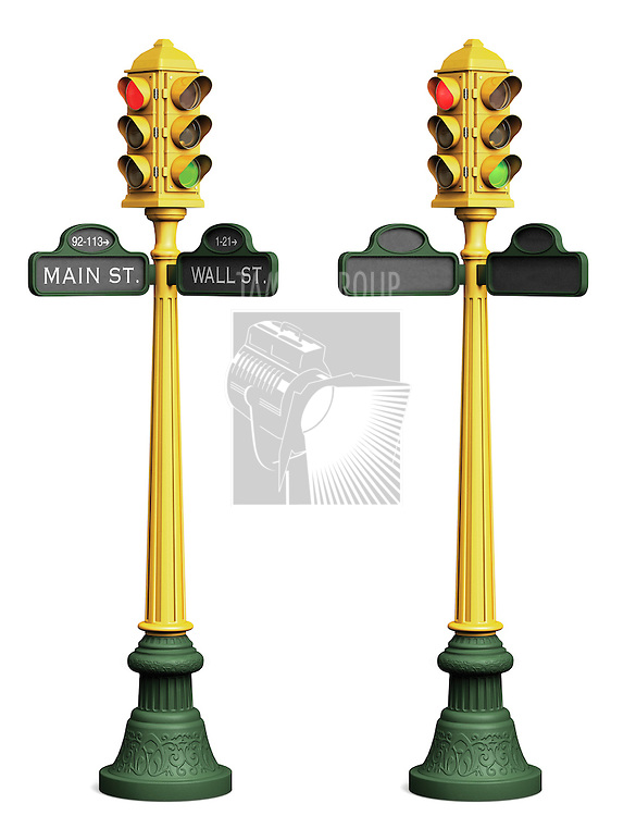"Two stop light posts on a white background; one with blank street signs, the other with ""Main St."" and ""Wall St."" shown"