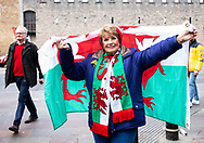 A Wales fan enjoying the pre match atmosphere<br /> <br /> Photographer Simon King/Replay Images<br /> <br /> Six Nations Round 3 - Wales v England - Saturday 23rd February 2019 - Principality Stadium - Cardiff<br /> <br /> World Copyright © Replay Images . All rights reserved. info@replayimages.co.uk - http://replayimages.co.uk
