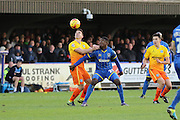 Christian Toonga of AFC Wimbledon during the Sky Bet League 2 match between AFC Wimbledon and Wycombe Wanderers at the Cherry Red Records Stadium, Kingston, England on 21 November 2015. Photo by Stuart Butcher.