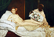 Olympia', 1863. Oil on canvas. Edouard Manet (1832-1883) French artist, transition from Realism to Impressionism. Nude Female Sexuality Courtesan Prostitute  Servant Black Cat