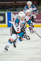 KELOWNA, CANADA - SEPTEMBER 5: Rodney Southam #17 of Kelowna Rockets skates against the Prince George Cougars on September 5, 2015 during the first pre-season game at Prospera Place in Kelowna, British Columbia, Canada.  (Photo by Marissa Baecker/Shoot the Breeze)  *** Local Caption *** Rodney Southam;