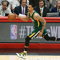 25 April 2017: Utah Jazz guard George Hill (3) brings the ball up court during the Utah Jazz 96-92 victory over the Los Angeles Clippers, during game 5 of the first round of the Western Conference playoffs, at the Staples Center, Los Angeles, California, USA.