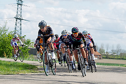 Amy Pieters (Wiggle Hi5) and Barbara Guarischi (CANYON//SRAM Racing) at Omloop van Borsele 2016. A 139 km road race starting and finishing in 's-Heerenhoek, Netherlands on 23rd April 2016.