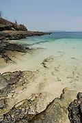 Rocky sea bed in Contadora island shore. Las Perlas Archipelago, Panama province, Panama, Central America.