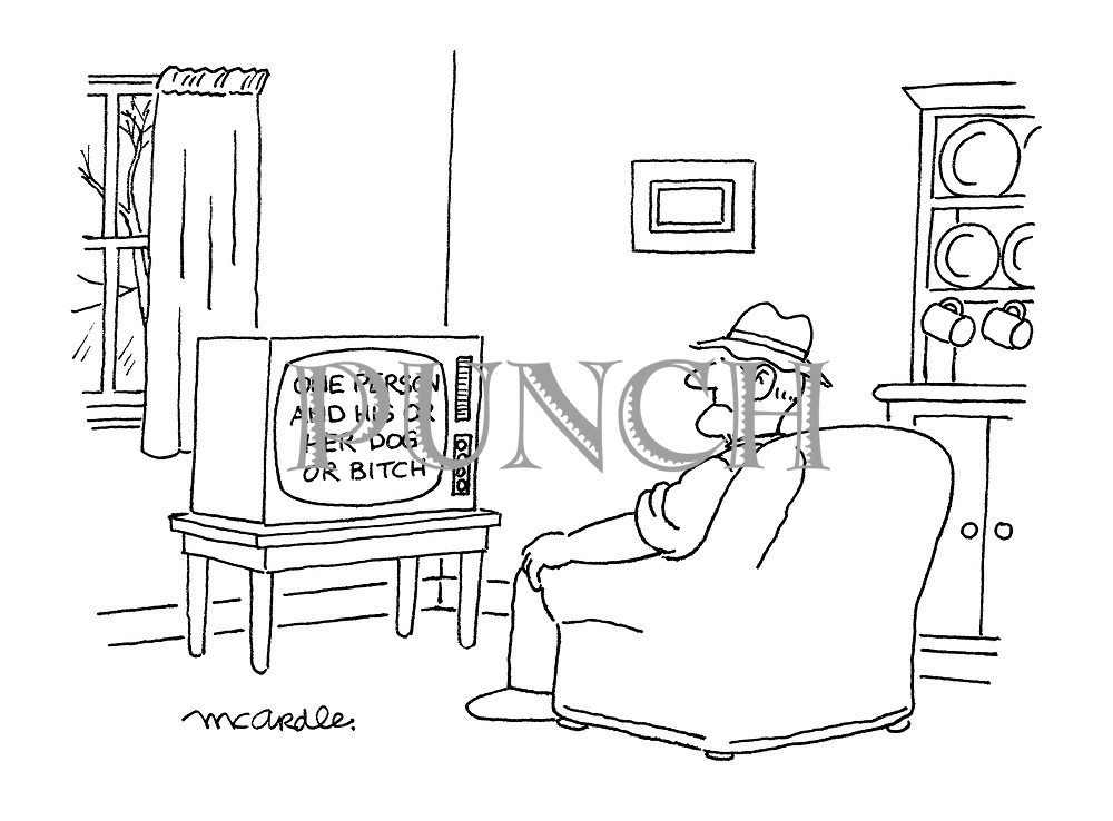 (A farmer watching television that shows a programme title reading: 'One Person and His or Her Dog or Bitch')