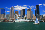 Harbor view of cruise ship, sailboat, and skyline, Seattle, Washington