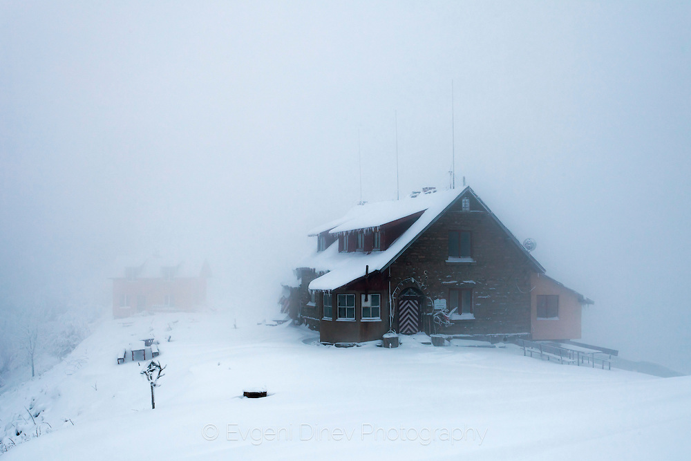 Extremely cold winter in the snowy mountain