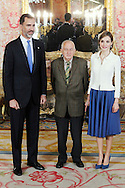 King Felipe VI of Spain, Juan Goytisolo and Queen Letizia of Spain attended the lunch in ocassion of the '2014 Cervantes Award' at the Royal Palace on April 22, 2015 in Madrid, Spain